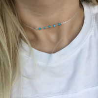 Dainty Turquoise and Silver Everyday Choker Necklace/ Rosary Necklace/ Turquoise Jewelry