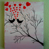 Canvas Art Love birds Acrylic painting Canvas painting Pink background Birds on tree Forever and Always Canvas Love quotes