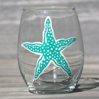 Starfish Stemless Wine Glass / Hand-Painted, More Colors Available