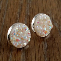 Druzy earrings- opal white drusy silver tone stud druzy earrings