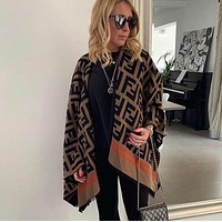 Fendi Limited Edition FF Letter Jacquard Tassel Shawl Wool Knitted Fashion Ladies Scarf