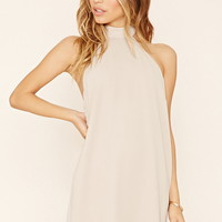 Self-Tie Chiffon Halter Dress