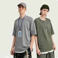 Candy Colour Cotton Oversized Fashion Hip Hop T-Shirts Dress Tee Solid Loose Fit Basic Tee Unisex Couple Tee