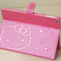 New Super slim PU Leather tablet case for Apple iPad mini 1 2 3 hello kitty protective sleeve stand cover wake up & sleeping