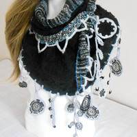 Black Grey Shawl, Black Angora Shawls, Scarves Black Point, Silver Grey Shawl, Point Grey Shawl, Wrap Christmas Gifts, Silver Angora Shawls