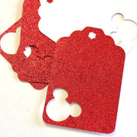 Mickey Mouse gift Tags - 5, 10, 25 Red, Pink Glitter Choose color Cardstock Gift Tags with Mickey Mouse cut outs 3 inch birthday party favor