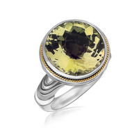 18K Yellow Gold and Sterling Silver Round Milgrained Lemon Quartz Ring: Size 7