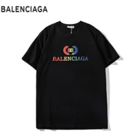 Balenciaga Summer Fashion New Bust Colorful Leaf Letter Print Women Men Top T-Shirt Black