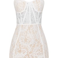 White Lace Strappy Panelled Bodycon Dress