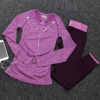 Women two pieces set yoga long sleeve t-shirt and pants sport suits fitness gym tracksuit running training workout clothing