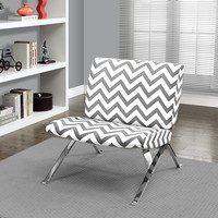 "Grey ""Chevron"" Fabric/Chrome Metal Accent Chair"