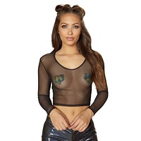 Roma Rave 3556 - 1pc Sheer Long Sleeved Crop Top