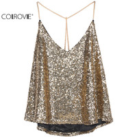 COLROVIE 2016 Women Fashion Sexy Tops Clothing Brand Beachwear Black Spaghetti Strap Gold Sequined Chiffon Camis