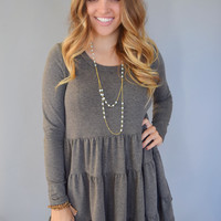 Colorado Pine Tiered Dress Charcoal
