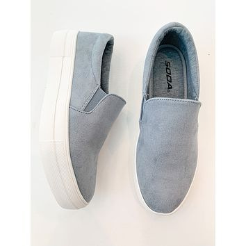 Casey Suede Slip-On Sneakers (Muted Blue)