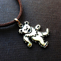 Dancing Bear Pendant Cast in Yellow Brass on Suede Cord by 100mics