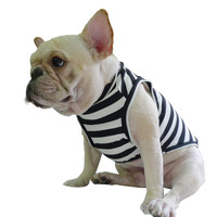 Frenchie Classic Elegant Black White Stripe dog clothing for French Bulldog or Pug wear use comfortable fabric and easy go with accessory
