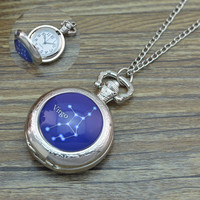 2016 Silver 12 Zodiac Signs Necklace pocket watch For Women Men Birthday Christmas Gift 12 Constellations Fob watches
