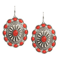 Silver Concho Earrings With Red Stone