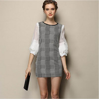 Block Plaid Bishop Sleeve Dress