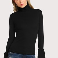 Bell sleeve turtle neck top