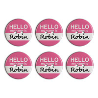 Robin Hello My Name Is Plastic Resin Button Set of 6