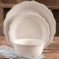 The Pioneer Woman Cowgirl Lace 12-Piece Dinnerware Set - Walmart.com