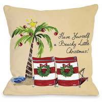 """""""Beachy Little Christmas"""" Indoor Throw Pillow by Timree Gold, 16""""x16"""""""