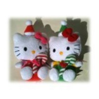 Ty Beanie Babies Hello Kitty,Santa Kitties- One in Green and One in Red Outfit Holding a Sugar Cane