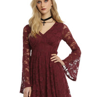 Burgundy Lace Bell Sleeve Dress