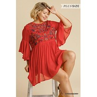 Umgee Plus Size Bell Sleeve Keyhole Floral Embroidered Dress