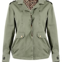 Mickey Mouse Patterned Coat In Army Green