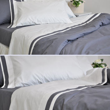 Bordered Off White Sheet Set Full Queen King - Flat Sheet with Smoky Gray Border, Bordered Pillowcases, Fitted Sheet - Percale Cotton Sheets