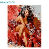 DRAWCOLOR Frame Sexy Women DIY Painting By Numbers Acrylic Paint On Canvas Figure Painting Modern Wall Art Picture For Home Arts