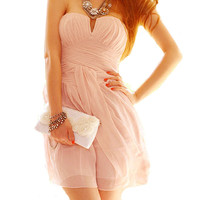 Pink Strapless Cocktail Dress Prom Dress Party Dresses