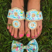 Lilly Pulitzer You Gotta Regatta Inspired Fake Jack Rogers