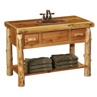 Cedar Freestanding Open Vanity with Shelf and Two Drawers