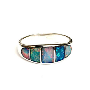 Opal Sterling Silver Ring, Tapered Band, Natural Opal Inlay, Fire Opal, Multi Color, 925 Sterling, Vintage, Opal Jewelry