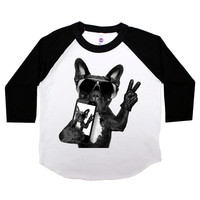 Dog Selfie Three Quarter Sleeve American Apparel Raglan Kids T Shirt Boys or Girls Funny Shirt Baby Toddler Baseball Tee Hipster Bulldog 101