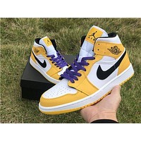 "Air Jordan 1 Low ""Lakers"" Yellow/White-Black-Purple High Top Basketball Shoes"