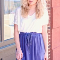 Navy Fringe Fray Hi-Lo Skirt w/ Pockets