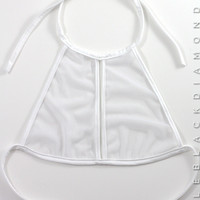 White Mesh Halter Top