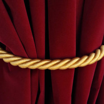 1 Large Handmade Gold Window Treatment Hardware Decor Curtain Tie Drapery Pull Back Cord/Rope 36 inch Long Thick Tieback Drape Hold Back