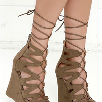 Perfect Form Taupe Suede Lace-Up Platform Wedges