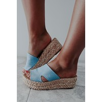 Going Places Wedges: Chambray/Natural
