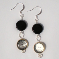 Earrings Clocks and Round Glass Beads with Silver by stuffbyemily