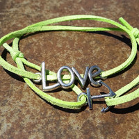 Green Leather Silver Anchor Love Bracelet Anklet Charm Men Women Unisex Fashion New Love Cute Diy Friendship