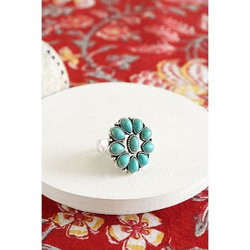 Navajo Concho Inspired Round Flower Ring in Turquoise