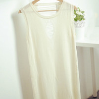 Sleeveless Cut-Out Knitted Vest Top
