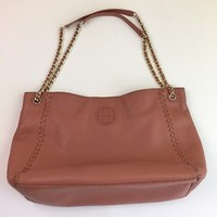Tory Burch Tote Bag Marion Tan Brown Leather Chain Center Zip Whipstitch Medium